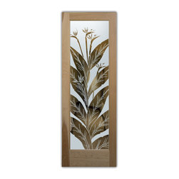 "Bird of Paradise Negative - Whether it's front entry doors, or interior glass doors the first focal point of any home, business or office are the doors, and art glass doors by Sans Soucie add a unique element and a level of luxury while providing privacy AND light!   From a little to a lot, the privacy you need is created without sacrificing sunlight.  From simple frosted glass effects to our more extravagant 3D sculpture carving, painted and stained glass and everything in between, Sans Soucie designs are sandblasted different ways which create not only different effects but different levels in price.  The ""same design, done different"" - with no limit to design, there's something for every decor, regardless of style.  Price will vary by design complexity and type of effect:  Specialty Glass and Frosted Glass.  For complete descriptions of glass types and effects, click here.  Available any size, all glass is custom made to order and ships worldwide.  Door glass will be tempered and come in various thicknesses and types depending on door location (interior or exterior) and the effect selected.  Selling both the glass inserts for doors as well as door frames, Sans Soucie doors are available as an interior or entry door in 8 woods and 2 fiberglass, as a slab door or prehung in the jamb in any size.  Inside our incredibly fun, easy to use online Door Designer, you'll get instant pricing on everything as YOU customize your door and glass!  When you're all finished designing, you can place your order online!   We're here to answer any questions you have so please call (877) 331-339 to speak to a knowledgeable representative!   Doors ship worldwide at reasonable prices from Palm Desert, California with delivery time ranges between 3-8 weeks depending on door material and glass effect selected.  (Doug Fir or Fiberglass in Frosted Effects allow 3 weeks, Specialty Woods and Glass  [2D, 3D, Leaded] will require approx. 8 weeks)."