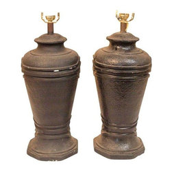 Black Ginger Jar Lamps - A Pair - A quick fixer-upper will give these Black Ginger Jar lamps more than the necessary to make them look good as new. However, the distressed look gives these jars the appearance of a life full of hard work. Bulb sockets may need your TLC.