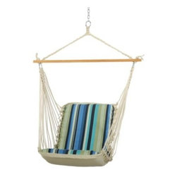 Hammock Source, The - Pawleys Island Single Cushioned Swing in Blue - Swing in style with this single swing with a sharp striped pattern. It features DuraCord fabric which is colorfast and mildew resistant.