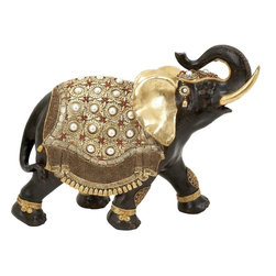 Benzara - Polystone Elephant Distinctive and Elegant with Gold Detail - Looking to give your home a distinctive appearance? If you are, this Polystone Elephant is an excellent choice of accessory. It flaunts a beautifully crafted design that includes exquisite detail work for an attractive appearance. This decorative elephant is crafted from resin of high quality which gives it a sturdy and long lasting build. This elegant accessory has a versatile appeal which makes it ideal for blending in with different kinds of decors and settings. The elephant sports a black color accented with gold detail work which gives it a distinctive and elegant appeal to enhance interior decors. Crafted from high quality material, this elephant is sturdy and durable and will last for years to come. Elephant is a symbol of happiness and prosperity, and hence its presence will fill your house with positive vibe. You can also consider presenting it to someone you care for and win a great appreciation for your choice of gift..