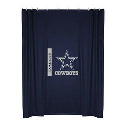 Sports Coverage - NFL Dallas Cowboys Football Locker Room Shower Curtain - Features: