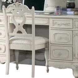 Homelegance - Homelegance Cinderella 50 Inch Writing Desk in White - The Cinderella collection is your little Child's dream. The Victorian styling incorporates floral motif hardware, ecru painted finish and traditional carving details that will create the feeling of a room worth of a fairy tale princess.