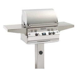 """Fire Magic - Fire Magic Aurora 24"""" In-Ground Post Gas Grill A430s1E1PG6 - -Dial Switch shut off Timer with an up to 3 hour setting.  -432 square inches of cooking surface.  -24"""" x 18"""" cooking area.  -50,000 BTU primary cooking area.  -Quality 304 Stainless Steel construction with sleek Contemporary styling.  -Cast stainless steel """"E"""" burners guaranteed for life  -16-gauge stainless steel flavor gridsare engineered for durability and even heatdistribution  -Built-in Interior Lights  -Integral and removable ovenwarming rack for light cooking or warming food  -Meat probewith digital thermometer  -Built-in storage rackfor rotisserie spit rod  -Extensive lineof complementary accessories    Height with Grill Closed: 50""""; Depth: 26""""; Width with Shelves Open: 56""""; Width without Shelves: 24.5""""    15 year warranty on backburnersCast stainless steel burners, stainless steel housing and stainless steelcooking grids are warranted for as long as you own your grill."""
