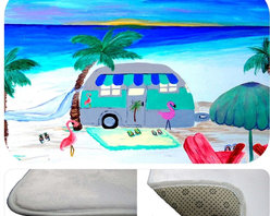 "usa - Air Stream On The Beach Bath Mat,  20"" X 15"" - Bath mats from my original art and designs. Super soft plush fabric with a non skid backing. Eco friendly water base dyes that will not fade or alter the texture of the fabric. Washable 100 % polyester and mold resistant. Great for the bath room or anywhere in the home. At 1/2 inch thick our mats are softer and more plush than the typical comfort mats. Your toes will love you."