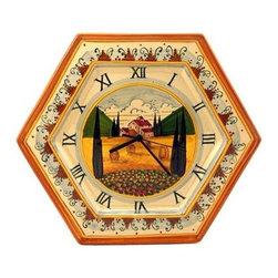 Artistica - Hand Made in Italy - Paesaggio Toscana: Hexagonal Wall Clock - Paesaggio Toscana: