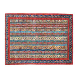 1800-Get-A-Rug - Hand Knotted Super Kazak Oriental Rug Striped 100% Wool Multicolored Sh15488 - Our Tribal & Geometric Collection consists of classic rugs woven with geometric patterns based on traditional tribal motifs. You will find Kazak rugs and flat-woven Kilims with centuries-old classic Turkish, Persian, Caucasian and Armenian patterns. The collection also includes the antique, finely-woven Serapi Heriz, the Mamluk Afghan, and the traditional village Persian rug.