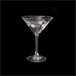 Rolf - Icy Pinecone Set of 4 Martini Glasses - Have the tropical taste right on your tabletops with our spectacular set of 4 Icy Pinecone cooler glasses. Made by the prime Rolf Glassware Collection, these glasses boast perfectly frosted multi faceted detailed pinecones, which stand it bold contrast to its finely cut pine needles. With each piece delicately polished, these glasses portray a rich shine, that will sparkle in the sunlight. These glasses are gift boxed and dishwasher safe. 10 oz. glasses.