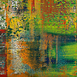 """modern abstraction #77-2121, 37x37 - """"Modern Abstractions"""", combines Spencer Rogers' photography and painting. They are macro photographs of small sections of his large paintings that are printed behind museum grade plexiglass acrylic, with polished edge, to create a stunning modern look. These have been a designer's dream as you can order them in multiple sizes. Only 25 of each image will be sold, which creates a lot of appeal to collectors and helps keep these works of art as unique as the original paintings. The finished piece in the sample photo is 48x64"""