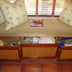 Window Seat Pull Out Shelves - Make your window seat storage even more functional with custom pull out shelves from ShelfGenie.  We used the existing facade of the window seat storage and attached it to the pull out shelves.