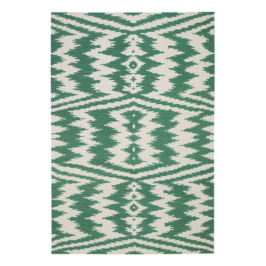 """Uzbek rug in Emerald - """"The indigenous patterns from the east are contagious, folky and powerful.  This rug plays with what's familiar in these woven wonders and pushes it in its patterning to the next level.  I love the juxtaposition of familiar and the unknown."""" - Genevieve Gorder"""