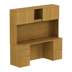 """BBF - Bush 300 Series 72"""" Double Pedestal Desk with Hutch in Modern Cherry - Bush - Commercial Grade Office - 300S058MC -Functional beauty plus sophisticated styling comes standard with the BBF Modern Cherry 300 Series 72""""W x 22""""D Small Space Desk with 72""""W Tall Overhead. Desk's narrow profile offers extra workspace yet fits in the tightest places. The 72""""W surface and pedestal keeps clutter to a minimum and holds all necessary papers or documents. Two box drawers hold supplies while three file drawers accommodate letter- legal or A4-size files, providing storage versatility. Full-extension ball-bearing slides make it easy to reach the back of all drawers. Tall Overhead Hutch helps keep desk areas clear and has an open center section for large books or oversize manuals. Height matches other 300 Series hutches for side-by-side configurations. Four enclosed compartments hold supplies, electronics or personal items."""
