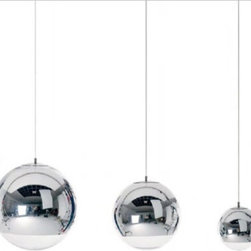 IMPORT LIGHTING & FUNITURE - Tom Dixon Chrome Mirror Ball Pendant Lamp, Small - A highly reflective shade inspired by the space helmet. The Mirror Ball is created by exploding a thin layer of pure metal onto the internal surface of a polycarbonate globe. This has become one of the most iconic products in the collection
