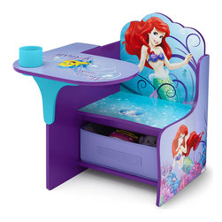 Adarn Inc - Children Purple Disney Little Mermaid Storage Bin Cup Holder Chair Desk - Whether toddlers are tackling snack time or swimming in schoolwork, this Little Mermaid Desk makes the grade! Boasting a colorful, painted finish that showcases the allure of Ariel's underwater world, it also features a built-in cup holder and a storage bin underneath that keeps all her gadgets and gizmos close at hand. Recommended for use up to 50 lbs. Meets all JPMA safety requirements. Some assembly required. Complements other Disney Little Mermaid items sold separately online by Delta Children's Products.
