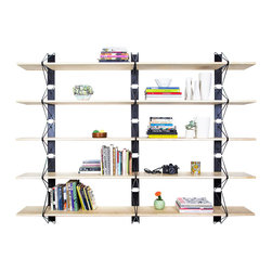"Souda - Strut Shelving System, Natural Maple, Black, 84"" - Whether it's red & maple for poppy & fun; black & blackened for dark & chic; or brass & whitened for pristine & timeless, the Strut Shelving System paints the picture as you see it. Modern, structural, and endlessly customizable, the Strut Shelving System brings a polished simplicity to residential and commercial interiors alike. Available in 48"", 84"", and custom lengths."