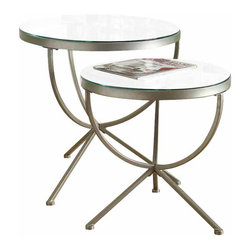 Monarch Specialties - Monarch Specialties 2-Piece 24 Inch Round Nesting Table Set in Silver - With its smooth edges and tempered glass tops, this 2 piece nesting table set gives a contemporary look to any room. Its chic satin silver metal base with curved legs provides sturdy support as well as a modern look. Use this multi-functional set as end tables, lamp tables, decorative display tables, or simply as accent pieces. What's included: Nesting Tables (2).