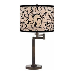 Design Classics Lighting - Modern Swing Arm Lamp with Black Shade in Bronze Finish - 1902-1-604 SH9515 - Contemporary / modern remington bronze 1-light table lamp. Swing arm has a maximum 9-inch extension. Takes (1) 100-watt incandescent three-way bulb(s). Bulb(s) sold separately. UL listed. Dry location rated.