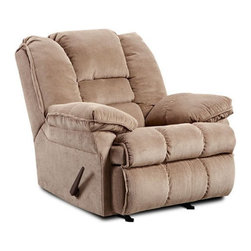 Simmons - Simmons Champion Microfiber Oversized Rocker Recliner - 400- TAN - Shop for Recliners from Hayneedle.com! Settle in to the ultra-plush cushions of the Simmons Champion Microfiber Oversized Rocker Recliner. Perfectly comfortable this chair features smooth rocking recline lever and rolled arms that are fully padded. It features a triple-pinch back and easy-clean microfiber material that comes in a variety of color options.About United Furniture IndustriesUnited Furniture Industries emerged in 2000 from a merger and acquisition of Comfort Furniture Parkhill Furniture and United Chair. Their mission was to create a company with the vision and resources needed to be an industry leader. By 2008 United Furniture Industries had done just that by receiving an exclusive licensing agreement with Simmons Upholstery a leading resource for microfiber and bonded leather upholstery fabric models. United Furniture Industries has production facilities around the United States. They offer an extensive affordable line of trend-setting furniture that includes microfiber bonded leather and upholstery fabric furniture sofas sectionals chaise lounges recliners motion sofas and Hide-A-Bed sleepers.