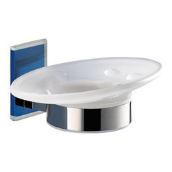 Gedy - Wall Mounted Round Frosted Glass Soap Dish With Blue Mounting - Stylish wall mounted oval shaped frosted glass and brass soap holder with blue thermoplastic resins mounting.