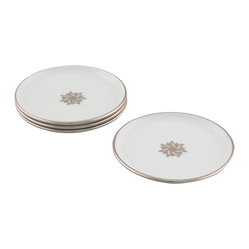 Maison Alma - Arienne Signature Medallion Drink Coasters, White & Platinum - Treat your family and guests like royalty. This set of four Limoges white porcelain coasters features a band of 24-karat gold or platinum and a signature center medallion to elevate even the most humble beverage to Dom Perignon status.