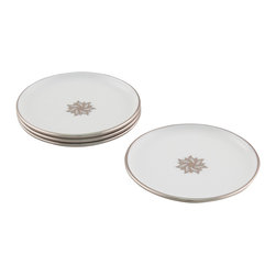 Maison Alma - Arienne Signature Medallion Drink Coasters, White and Platinum, Set of 4 - Treat your family and guests like royalty. This set of four Limoges white porcelain coasters features a band of 24-karat gold or platinum and a signature center medallion to elevate even the most humble beverage to Dom Perignon status.
