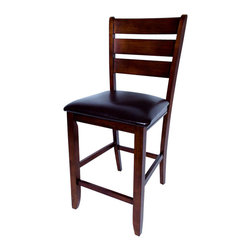"""AW Furniture - Solid Hardwood Brown Ladder Back Cushion 24"""" Counter Height 2 Barstool Set - This classic design counter stool combines both style and comfort. Its clean construction, and beautiful ladder back with straight legs and rungs are sure to make the counter stool. It is crafted from sturdy hardwood and features a lovely mission brown finish."""
