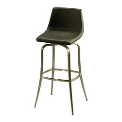 """Pastel Furniture - Pastel Diamond Pearl Barstool - Stainless Steel - PU Black, 30 Inch - This handsomely crafted swivel Stainless steel barstool features a quality metal frame with sturdy legs and foot rest. The padded seat is upholstered in PU black offering comfort and style. Available in 26"""" counter height or 30"""" bar height."""