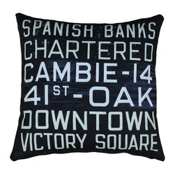 Pillow Decor - Pillow Decor - Vancouver Bus Scroll 20 x 20 Throw Pillow - From the Museum of Vancouver's Retail Collection, the Vancouver Bus Scroll Throw pillow features an original bus scroll that was once used on Vancouver's electric trolley buses in the early 1950s. Printed on front and back, the text on this vintage style throw pillow refers to bus routes that would have been displayed on the front of the bus. Made from a remarkably soft indoor/outdoor polyester fabric, this pillow has the look and feel of a natural cotton/linen blend.