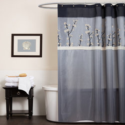 Lush Decor - Lush Decor Cocoa Flower Grey/ Black Shower Curtain - Beautify your bathroom with this machine-washable shower curtain that features pretty pleated details and a lovely floral motif. Made of 100-percent polyester designed to look and feel like silk, this shower curtain adds elegance to your bath area.