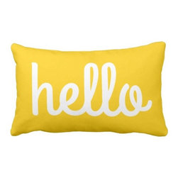 'Hello' Typography Throw Pillow - A pillow is a fun, easy way to add some typography to your space. I love the yellow color and welcoming message on this one!