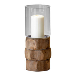 Cyan Design - Cyan Design Hex Nut Candleholder - Go NutsThis is rustic-chic style at its best! Cyan Design's Hex Nut Candleholder is a hip accent piece with natural, organic appeal. Each is made from wood and glass and features a stacked base with offset hexagonal sides. Pair it with distressed woods and natural linens for a Pacific Northwest or craftsman feel, or let the sculptural look give your eclectic home an exotic touch. Now that's something to go nuts about.Available in three sizesPillar candles not includedMade in China