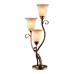 Lite Source - 3 Lites Table Lamp - Aged Bronze/Glass Shade - 3 Lites Table Lamp - Aged Bronze/Glass Shade, Type A 60Wx3