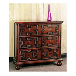 Wayborn - The English Chest - Magnificent English accent chest is terrific for a bedroom, guest room, or entry.  Intricately patterned drawer fronts are highlighted by warm two-tone finish with burnished look.  Simple drop pendant pulls and round bun feet add simple elegance to this classic design. 3 Drawers. Small brass knobs. Made from Basswood. Antiqued with a smooth finish. 36 in. W x 18 in. D x 34 in. H (68 lbs.)