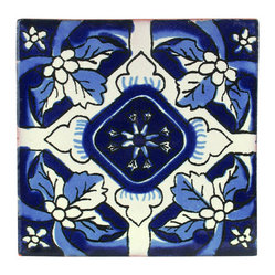 Mexican Artisans - Indigo Floral Talavera Tiles, Box of 15 - These Talavera tiles offer delft design with a Spanish accent. In style for centuries and hand made in Mexico, they will bring out the cool blues in your kitchen, bath, patio, wherever.