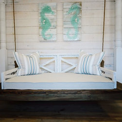 "Porch Bed Swing - Dimensions are 44""x77"" and includes rope and hardware shown. Made for indoor/outdoor usage. Price does not include cushion. Cushion is available for an additional charge using Sunbrella Fabrics. Contact us for ordering information."