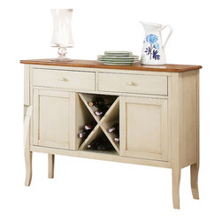 "Steve Silver Furniture - Steve Silver Candice Server with Wine Storage in Oak and White - The Candice collection offers country-style simplicity, transforming any dining area into a charming sanctuary. The white and oak Candice server has two spacious drawers for storing linens and tableware, two cabinets, wine storage, and a 48""L x 17""D serving surface. This is the perfect piece to complete the Candice counter height dining set."