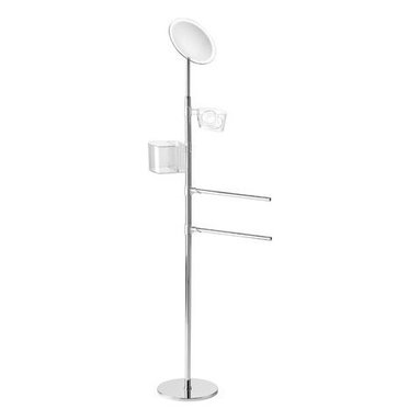 Gedy - Chrome Towel Stand with Accessories Holder - Add this decorative, contemporary towel holder to your already contemporary personal bath.