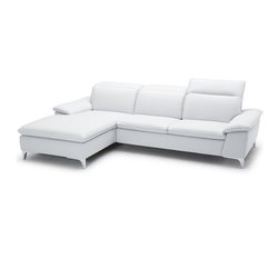 JNM Furniture - 1911 White Leather Sectional in Modern Style, Right Facing Chaise - The 1911 leather sectional features a well tapered design for an eye catching sleek look. The 1911 is expertly stitched, & mixes high density foam with three ratchet headrests for maximum comfort. Great quality at a great price.