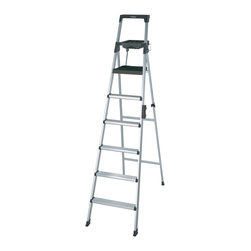 Cosco - Cosco Signature Series 8-foot Premium Aluminum Step Ladder - This lightweight and durable 8-foot aluminum step ladder features a large platform top step,large stabilizing feet,comfort hand grips and a carrying handle with security lock. This step ladder meets industrial standards with a 300-pound rating.