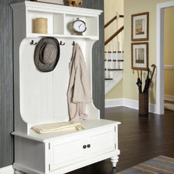 "Home Styles - Bermuda Hall Tree - Inspired by the fusion of British traditional and old world tropical design, The Bermuda collection highlights rubber wood solids and veneers. It's completed with four decorative coat hooks and antique brass hardware. Features: -Abundant storage space with two shutter doors that open to storage compartment.-Shutter doors and turned feet.-Two pigeon hole open storage areas at the top.-Bermuda collection.-Collection: Bermuda.-Style: Transitional.-Distressed: No.-Powder Coated Finish: No.-Gloss Finish: No.-Material: Wood.-Number of Items Included: 1.-Reclaimed Wood: No.-Wood Tone (Finish: White): Light.-Wood Tone (Finish: Espresso): Dark.-Water Resistant: No.-Scratch Resistant: No.-Stain Resistant: No.-Fire Resistant: No.-Wall Mounted: No.-Mirror Included: No.-Storage Bench Included: Yes -Arms: No.-Seat Cushion: No..-Exterior Shelves: Yes -Number of Exterior Shelves: 2.-Shelf Material: Wood.-Adjustable Shelves: No..-Drawers Included: No.-Hooks Included: Yes -Number of Hooks: 4.-Double Prong Hooks: Yes.-Hook Finish: Brass.-Hook Material: Metal..-Storage Baskets Included: No.-Umbrella Stand Included: No.-Commercial Use: No.-Recycled Content: No.-Eco-Friendly: Yes.-Product Care: Clean with damp cloth.Specifications: -CARB Compliant: Yes.-CPSIA or CPSC Compliant: Yes.-FSC Certified: Yes.-ISTA 3A Certified: Yes.Dimensions: -Overall Height - Top to Bottom: 64.5"".-Overall Width - Side to Side: 40"".-Overall Depth - Front to Back: 18.5"".-Overall Product Weight: 113.6 lbs.-Storage Bench: -Seat Height: 18"".-Internal Height: 7.75"".-Internal Width: 33.75"".-Internal Depth: 15.75""..-Shelves: -Shelf Height - Top to Bottom: 8"".-Shelf Width - Side to Side: 17.5"".-Shelf Depth - Front to Back: 7..25""..Assembly: -Assembly Required: Yes.-Tools Needed: Phillips screwdriver.-Additional Parts Required: No.Warranty: -Product Warranty: Vendor replaces parts for 30 days."