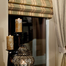 Custom Roman Shades / Blinds - BLACKOUT ROMAN SHADE - www.ddccustomwindowfashions.com -Design your own custom roman shades / roman blinds & side panels for your home with your choice of over 2000 distinctive fabrics, modern styles, and multiple options.