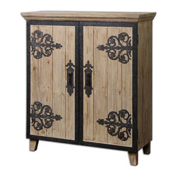 Abelardo Rustic Console Cabinet - Lightly Stained, Rustic Solid Fir Wood With Wrought Iron Metal Details And One Interior Shelf.