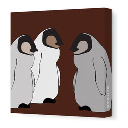 "Avalisa - Animal - Baby Penguins Stretched Wall Art, 12"" x 12"", Brown - Chill out! Nice and cool colors plus sleek, simple lines keep these baby penguins from looking too cute for your favorite contemporary setting."