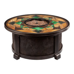 Nuriel Outdoor Gas Fire Pit with Stained Glass Top - Chilly nights won't force you inside when you bring home Nuriel Outdoor Gas Fire Pit with Stained Glass Top. This square fire pit features a round triple-paned glass top with decorative fire glass beads at the center for a striking display. It made to last from durable aluminum, this fire pit is topped with tile in a stunning Art Deco style.