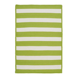 Colonial Mills, Inc. - Stripe It, Bright Lime Rug, 5'X8' - Bold and beautiful, these reversible indoor/outdoor rugs are made in the USA from maintenance-free polypropylene, so they'll stand up to sun, water, sand or anything else Mother Nature (or your family) dishes out. Perfect for the patio, playroom or kids' room — anyplace you need a carpet that's colorful and worry-free.