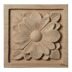 """Ekena Millwork - 3 1/2""""W x 3 1/2""""H x 3/4""""D Medium Dogwood Flower Rosette, Maple - Our rosettes are the perfect accent pieces to cabinetry, furniture, fireplace mantels, ceilings, and more.  Each pattern is carefully crafted after traditional and historical designs.  Each piece is carefully carved and then sanded ready for your paint or stain.  They can install simply with traditional wood glues and finishing nails."""