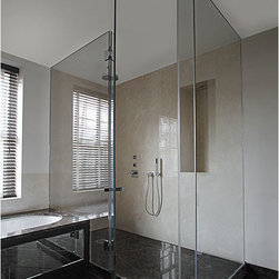 """Fully Frameless Glass Shower Enclosure - Fully frameless glass enclosure.  Corner shower.  Glass is 1/2"""" starphire low iron glass."""