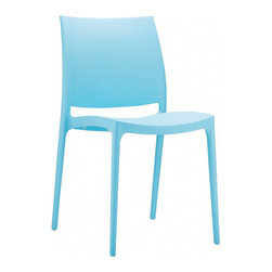 Compamia - Maya Dining Chair Blue - Set of 2 - Maya indoor outdoor dining chair. Made from commercial grade resin with gas injection molded legs. Preferred by restaurants, cafes and hotels. Extremely durable for outdoor temperatures. Easy cleaning. Perfect for heavy use indoor outdoor areas. Color baby blue.