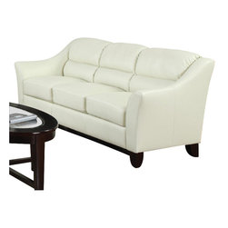 Coaster - Coaster Brooklyn Casual Contemporary Leather Sofa in Ivory - Coaster - Sofas - 504131 - Update your living room with this casual contemporary sofa. Split back cushions offer a comfortable and casual feel, while flared arms and tapered exposed wood legs give this piece a decidedly modern style.