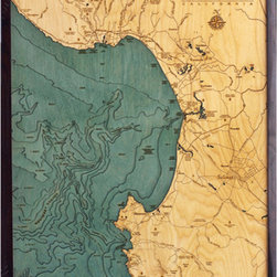 Thos. Baker - monterey bay (24w 31h) - Laser cut and hand colored in Baltic birchwood, this dramatic Monterey Bay laser cut marine chart (24w 31h) by Thos. Baker is reproduced from an actual hydrographic survey.  Fully framed in solid wood protected by a durable, ultra-transparent sheet of plexiglass. Fasteners not included.��This item size is��24w 31h.