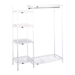 Metro Shelving - Open Garment Rack with Side Shelf Tower - Your guests will be delighted when they get to place their personal items in such a well organized closet or mudroom when you have this attractive open garment rack. Its wire shelf design is ideal for wet or muddy articles of clothing, allowing everything to easily dry.